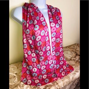 Fuchsia Pink Blue White Donuts heart Fashion Scarf